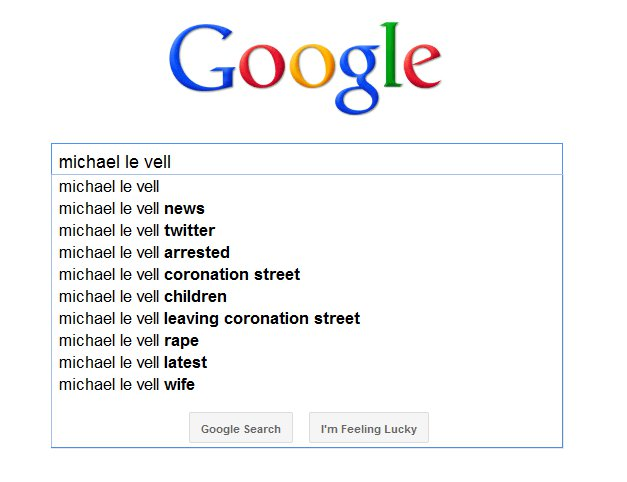 Google Autocomplete for Michael Le Vell